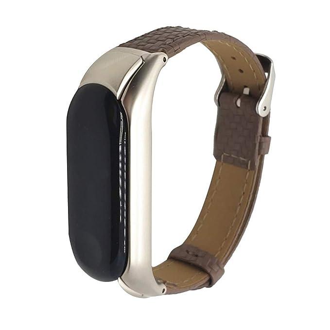 Mosstars Correa de Reloj for Xiaomi Miband 3 Nueva Pulsera de Cuero Elegante Reloj de Pulsera Correa Pulseras de Repuesto Correa de Muñeca Correas para ...