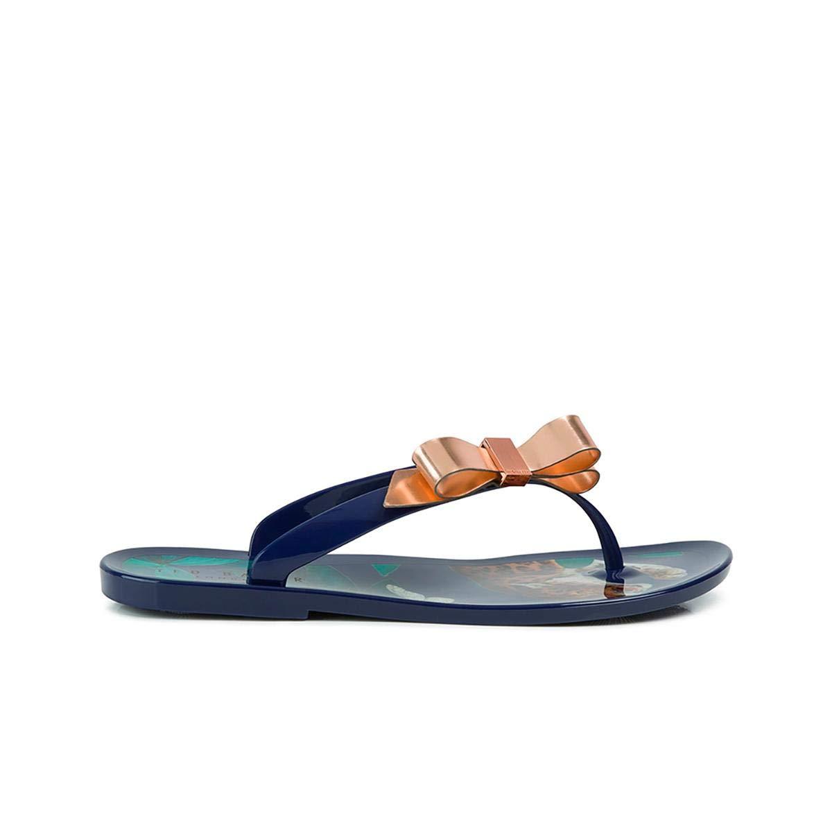 2e83a1c96 Amazon.com  Ted Baker Women s Suzzip PVC Slip On Flip Flop Navy Houdini   Shoes
