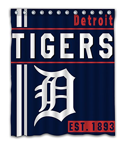 Detroit Baseball Team Emblem Waterproof Shower Curtain Blue Design Polyester for Bathroom Decoration 60 x 72 Inches with 12-Pack Plastic Hooks ()