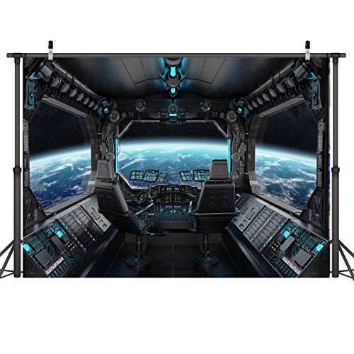 LYWYGG 10x8ft Vinyl Spaceship Interior Background Futuristic Science Fiction Photography Backdrops Spacecraft Cabin Photo Shoot Studio Props Astronomy Universe Galaxy Outer Space Station CP-37-1008]()