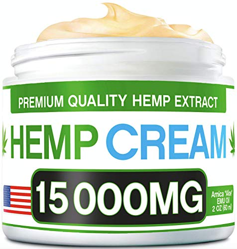 51q5EE22GOL - Hemp Pain Relief Cream - 15 000 MG - Natural Hemp Extract Relieves Inflammation, Knee, Muscle, Joint & Back Pain - Contains Arnica, MSM & EMU Oil - Non-GMO - Made in USA