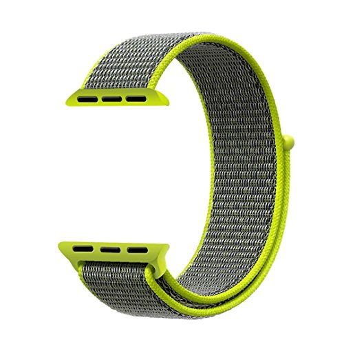QIENGO Qifit New Nylon Sport Loop with Hook and Loop Fastener Adjustable Closure Wrist Strap Replacment Band for iwatch Apple Watch Series 1 /2 / - Nylon Vintage Flash
