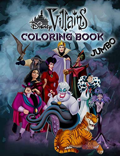 Disney Villains Coloring Book: Disney Villains Jumbo Coloring Book For Kids Ages 3-8 -