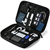 """BAGSMART Travel Electronic Organizer Cases, Electronics Accessories Storage Bag Portable for Tablet 7.9"""", Hard Drives, Cables, Memory Sticks, SD Cards, Black"""