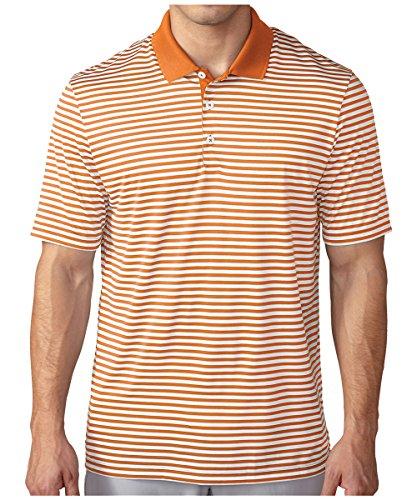 adidas Golf Men's Performance 3-Color Stripe Polo Shirt, Bright Orange/White, Small
