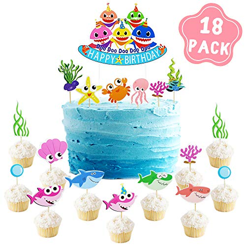 Shark Baby Party Supplies - Cake Topper Birthday Decorations (18Pack) - Sea World Shark Cupcake Toppers for Birthday Anniversary Party