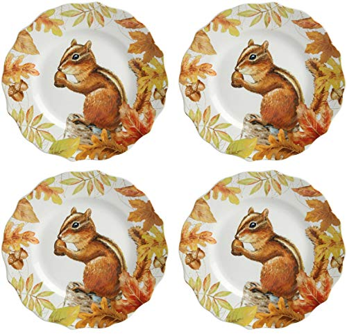 (Harvest Woodland Port Townsand Fall Porcelain Salad Plates, 8.5-Inch, Chipmunk (Set of 4) )