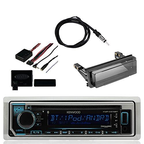 Kenwood Single DIN Bluetooth Marine Stereo Receiver, Metra Axxess Universal Steering Wheel Control, Metra Radio Cover Kit for Harley-Davidson Touring Motorcycle & Enrock Marine Antenna