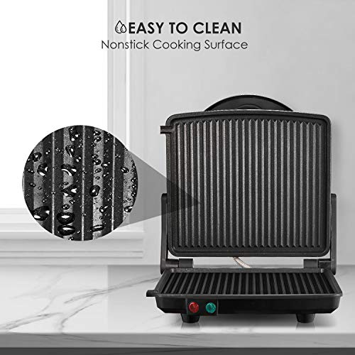 Kealive Panini Press Grill, 4-Slice Extra Large Gourmet Sandwich Maker Grill, Non-Stick Coated Plates, Opens 180 Degrees to Fit Any Type or Size of Food, Stainless Steel Surface and Drip Tray, 1200W by Kealive (Image #5)