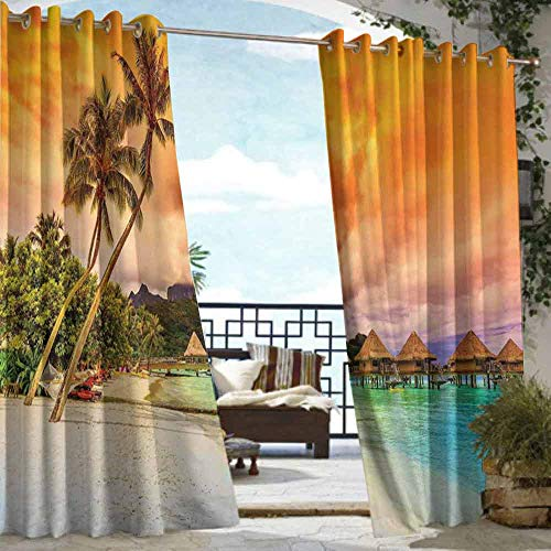 DILITECK Outdoor Blackout Curtain Beach Mountain Beach and Palm Trees Golden Clouds at Sunset Romantic View Image Waterproof Patio Door Panel W72 xL84 Orange Turquoise Ivory (Furniture Sets Bedroom Dunelm)