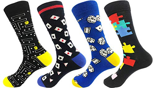 Pack of 4 Pairs of Men's Gaming Socks inc. Pac-Man, Sizes 7-13