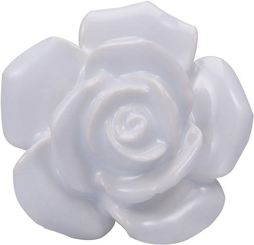 8PCS Ceramic Flower Rose Door Knobs Drawer Cabinet Handle Good Quality Not Break