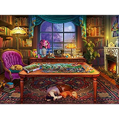 Ravensburger Cozy Series: Puzzler's Place 750 Piece Large Format Jigsaw Puzzle for Adults - Every Piece is Unique, Softclick Technology Means Pieces Fit Together Perfectly: Toys & Games