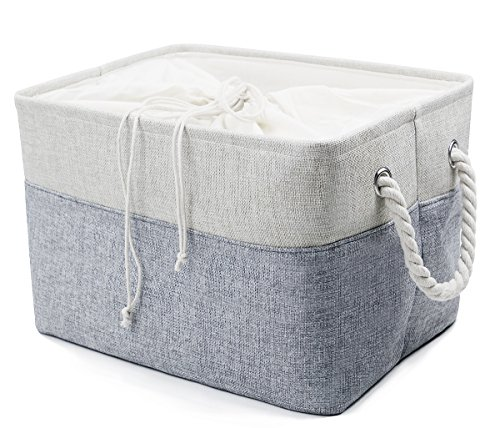 Natural Linen Folding Storage Baskets, Cotton Drawstring Closure, Toys, Clothes, Towels, Books Storage, Storage Cube for Shelf, Gray