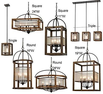 "7 Styles: 8-26"" Wide - Wood & Bronze Iron With Dramatic Sheer Organza Mission Art Deco Pendant Light Chandelier Arts Crafts Dirk Van Erp Fixture"