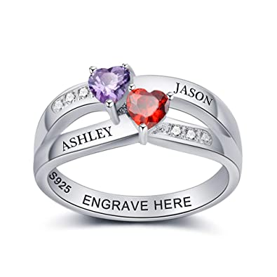 0612b81d5435d Diamondido Personalized Engagement Wedding Promise Ring for Her Couples  Names Heart Ring with Simulated Birthstone