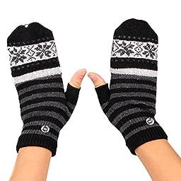 EUBUY USB2.0 Heated Snowflake Pattern Stripped Half/Full Finger Winter Hand Warmer Gloves Mittens (Gray)