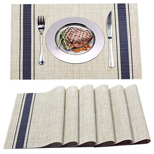 (WANGCHAO Placemats Dining Table mats Heat-Resistant Washable Table Cushion Place mats for Dining Table Splice Insulation Pads Tan and Blue Vertical Stripes Pattern Set of 4 (Blue Vertical)