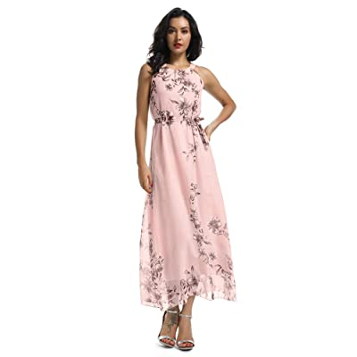 Women's Sleeveless Halter Neck Vintage Floral Print Maxi Dress at Women's Clothing store