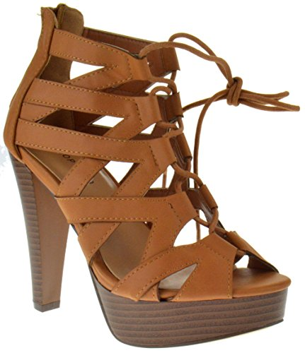 - Table 8 Peep Toe High Heel Lace Up Strappy Pumps Tan 8