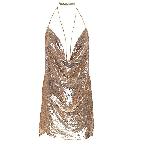 Dolcasa Women Backless Halter Cowl Neck Sequined Bodycon Club Party Mini Dress