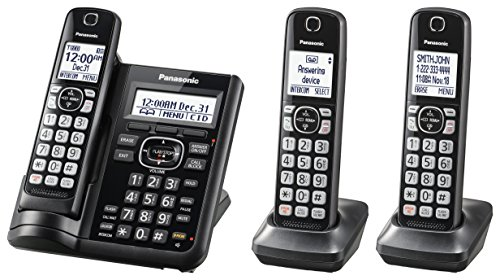 PANASONIC Cordless Phone System with Answering Machine, One-Touch Call Block, Enhanced Noise Reduction, Talking Caller ID and Intercom Voice Paging - 3 Handsets - KX-TGF543B (Black) ()