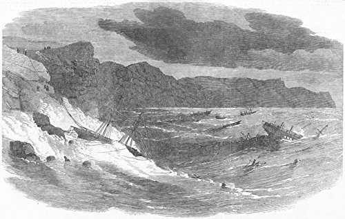 BALAKLAVA. Storm in Bay. Medora, Vulcan Mercia - 1854 - old antique vintage print - engraving art picture prints of Ukraine Landscapes & Seascapes - Illustrated London News