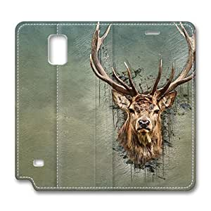 Brain114 Fashion Style Case Design Flip Folio PU Leather Cover Standup Cover Case with Deer 5 Pattern Skin for Samsung Galaxy Note 4