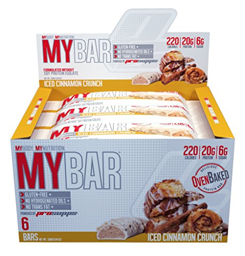 Pro Supps MYBAR Delicious Oven Baked Protein Bar (Iced Cinnamon Crunch), 20g Protein, Only 6g Sugar, Gluten-free, No Trans Fat, Healthy on-the-go Snack. 6 Count, Net WT 1.94 (Cytosport Muscle Milk Cake)