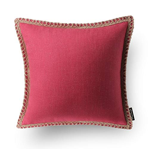 (Phantoscope Farmhouse Burlap Linen Trimmed Tailored Edges Throw Pillow Case Cushion Covers Red 18