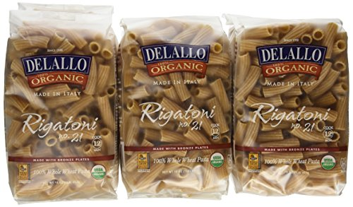 DeLallo Organic Whole Wheat Rigatoni #21, 16-Ounce Units (Pack of 16) ()