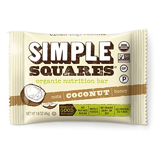 Simple Squares Paleo Protein Bars | Organic, Non GMO, No Dairy, Low Carb, Gluten Free Paleo Snacks Naturally Made For Paleo, and Low Sugar diets. (Coconut Nuts & Honey, 12 - Pack)