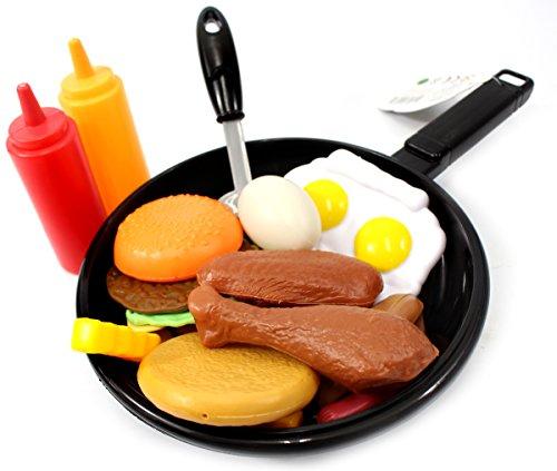 PowerTRC Fast Food Cooking Pan 25 Piece Kitchen Play Food Set