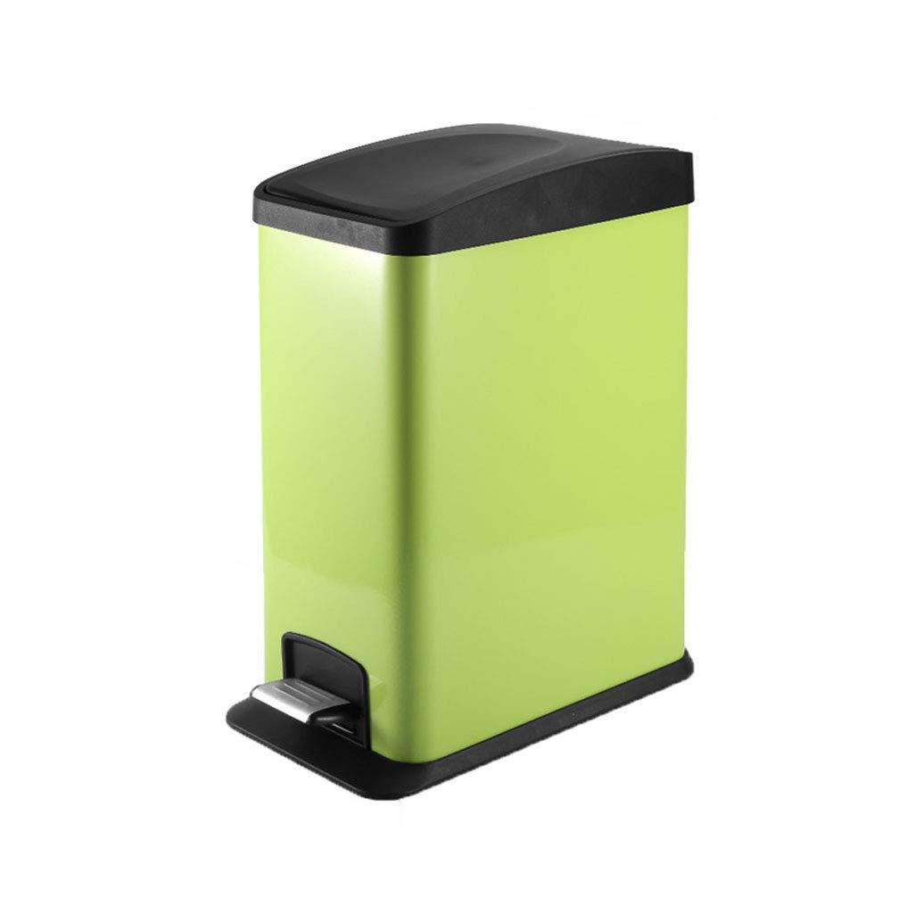 みんみん ゴミ箱 - ごみ箱、家庭用バスルームキッチンクリエイティブゴミ箱、ステンレススチールペダルゴミ箱12L 現代のゴミ箱 (Color : Green)  Green B07SLNND7Z