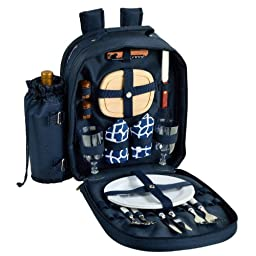 Picnic at Ascot - Deluxe Equipped 2 Person Picnic Backpack with Cooler & Insulated Wine Holder - Trellis Blue