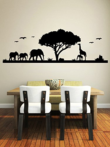 Safari Wall Decal Animals Jungle Safari African Tree Animals Jungle Giraffe Elephant Vinyl Decals Sticker Home Interior Design Art Mural Kids Nursery Baby Room Bedroom -