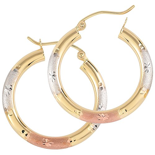 Balluccitoosi Tri Color Round Star Cut Hoop Earrings - 14k Gold Earring for Women and Girls - Unique Jewelry for Everyday by Ballucci&Toosi Goldsmith