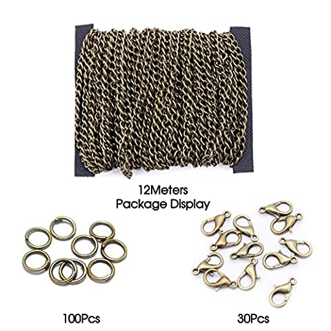 3.5X5mm 12 Meters Antique Brass Plated Twist Oval Curb Link Chain Lobster Clasp Open Jump Ring