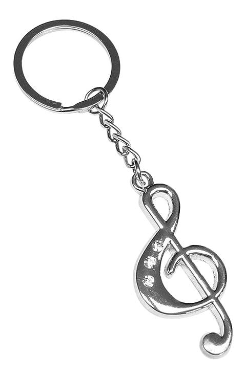 Llavero, joya bolsa,clave de sol música de acero cromado + 3 ...