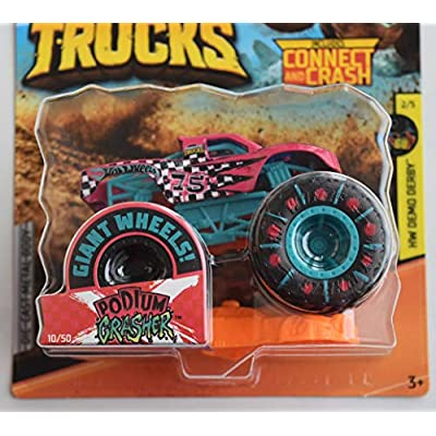 Hot Wheels Monster Truck 1:64 Scale, Pink Podium Crasher 10/50 Connect and Crash Car: Toys & Games