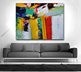 Hand Painted contemporary orange green Slected Gift Color knife Abstract Oil Painting Canvas Wall Living Room Home Decor Art
