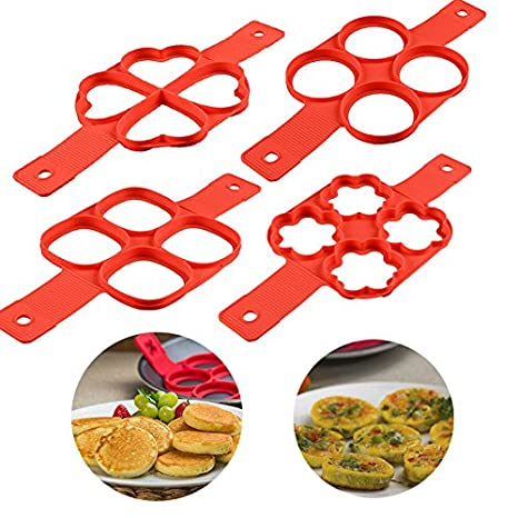 Aitsite 4 piezas Perfect Pancakes Silicona Tortitas Moldes Flippin Cocina Fantastic Omelette Maker Maquina Molde Silicona: Amazon.es: Hogar