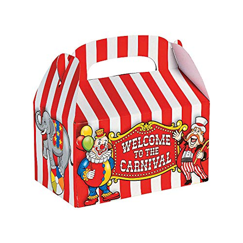 Fun Express Under the Big Top Empty Favor Boxes Party Accessory , 1 Dozen