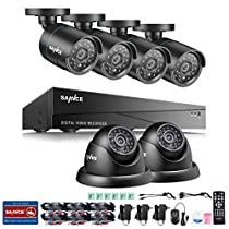SANNCE Full HD 8CH 1080N 4-in-1 DVR Video Security System Kit with 1TB Hard Drive and (6) 1.0 MP / 1500TVL Bullet&Dome Security Cameras, 66FT Night Vision, NO Hard Disk Drive