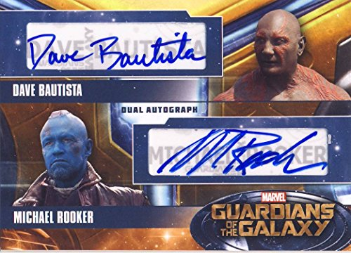 2014 Guardians of the Galaxy Trading Card Set Dual Autograph Dave Bautista as Drax and Michael Rooker as Yondu