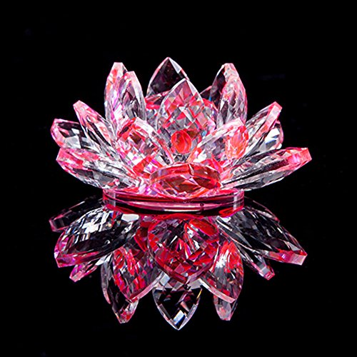 Chunkai Crystal Glass Lotus Flower Symbol Of Purity Home Office Decoration be Ideal Gift with Gift Box 3 Inch Pink