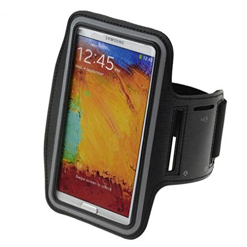 Armband Sports Gym Workout Cover Case Running Arm Strap Band Pouch Neoprene Black for Boost Mobile LG X Power - Boost Mobile Samsung Galaxy J7 - Boost Mobile ZTE Warp Sync