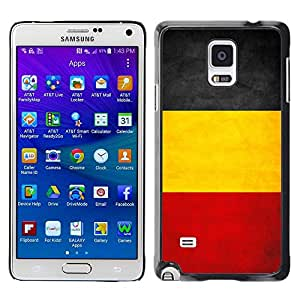 Caucho caso de Shell duro de la cubierta de accesorios de protección BY RAYDREAMMM - Samsung Galaxy Note 4 SM-N910F SM-N910K SM-N910C SM-N910W8 SM-N910U SM-N910 - Belgium Grunge Flag