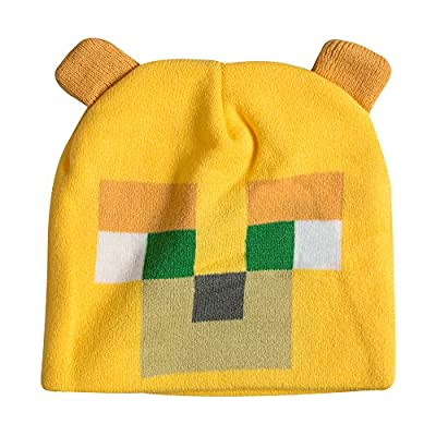 JINX Minecraft Ocelot Face Knit Beanie with Ears (Yellow, One Size) for Video Game Fans by JINX