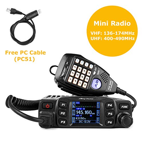 AnyTone AT-778UV Mobile Radio Dual Band VHF UHF Car Radio 25W Amateur Two Way Radio w Cable
